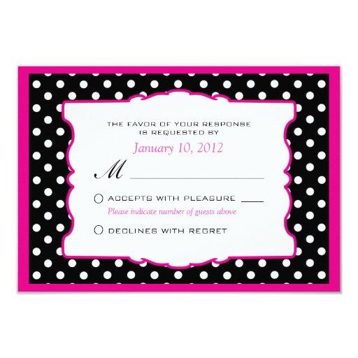 Hot Pink Black Amp White Polka Dot Wedding Rsvp 3 5x5 Paper