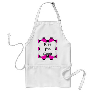 Hot Pink Black White Squares Hexagons Pattern Adult Apron