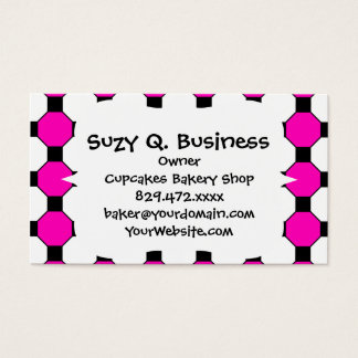 Hot Pink Black White Squares Hexagons Pattern Business Card