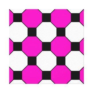Hot Pink Black White Squares Hexagons Pattern Canvas Print