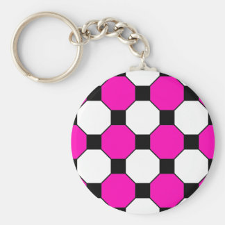 Hot Pink Black White Squares Hexagons Pattern Keychain