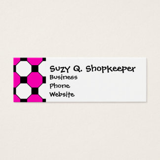 Hot Pink Black White Squares Hexagons Pattern Mini Business Card