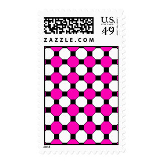 Hot Pink Black White Squares Hexagons Pattern Postage Stamps
