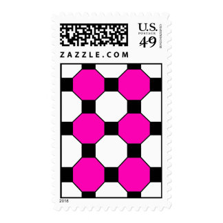 Hot Pink Black White Squares Hexagons Pattern Stamp