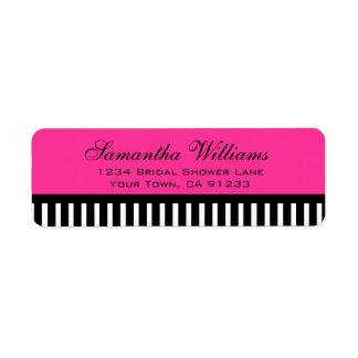 Hot Pink Black & White Stripes Label