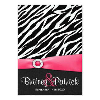 Hot Pink Black White Zebra Wedding Invitations