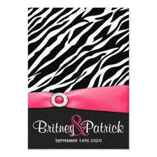Hot Pink Black White Zebra Wedding Invitations