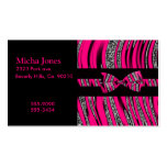 Hot Pink & Black Zebra Glitter Stripes Business Card Templates