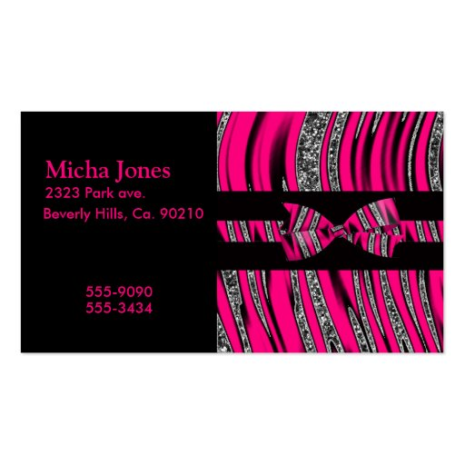 Hot Pink & Black Zebra Glitter Stripes Double-Sided Standard Business Cards (Pack Of 100)