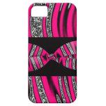 Hot Pink & Black Zebra Glitter Stripes iPhone 5 Cover