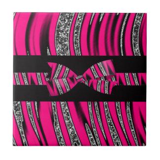 Hot Pink & Black Zebra Glitter Stripes Ceramic Tile