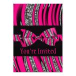 Hot Pink & Black Zebra Glitter Stripes Personalized Invite