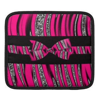 Hot Pink & Black Zebra Glitter Stripes iPad Sleeve
