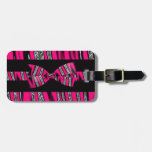 Hot Pink & Black Zebra Glitter Stripes Luggage Tag