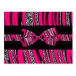 Hot Pink & Black Zebra Glitter Stripes Postcard