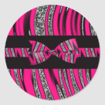 Hot Pink & Black Zebra Glitter Stripes Classic Round Sticker