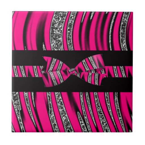 Hot Pink & Black Zebra Glitter Stripes Tiles