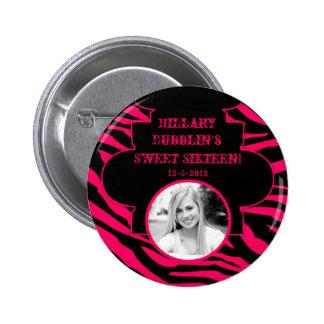 Hot Pink Black Zebra Print Animal Photo Button