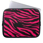 Hot Pink Black Zebra Print Animal Protective Case Laptop Sleeve