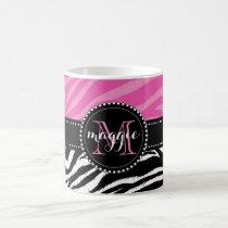 Hot Pink & Black Zebra Print Monogram girly Coffee Mug