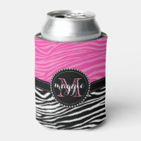 Hot Pink & Black Zebra Print Monogram Pattern Can Cooler