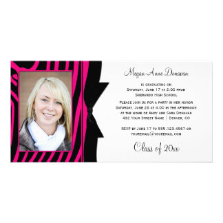 Hot Pink Black Zebra Print Photo Graduation Party Card