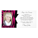 Hot Pink Black Zebra Print Photo Graduation Party Personalized Photo Card