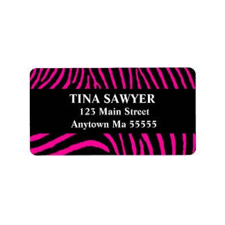 Hot Pink Black Zebra Return Address Labels