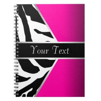 Hot Pink Black Zebra Spiral Notebook