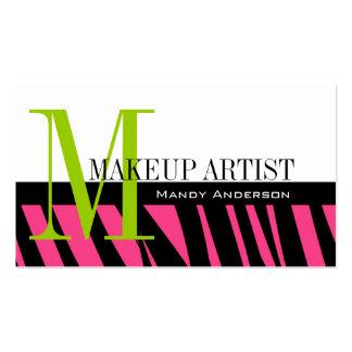 Hot Pink Black Zebra Stripes Bold Makeup Artist Business Card Templates