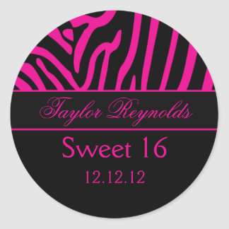 Hot Pink Black Zebra Sweet 16 Sticker