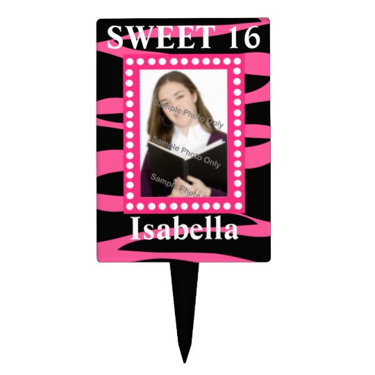 Hot Pink  Black Zebra Sweet Sixteen Birthday Photo Cake Topper