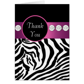 Hot Pink Black Zebra Thank You Cards