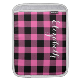 Hot Pink Blk Buffalo Check Plaid Name Monogram NL iPad Sleeve