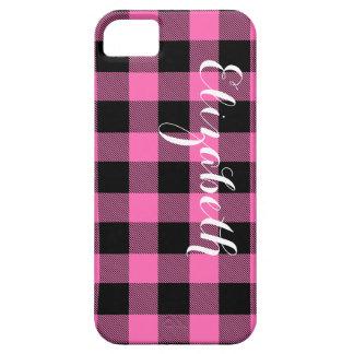 Hot Pink Blk Buffalo Check Plaid Name Monogram NL iPhone SE/5/5s Case