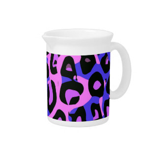 Hot Pink Blue Abstract Cheetah Beverage Pitcher