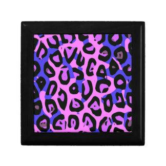 Hot Pink Blue Abstract Cheetah Keepsake Box