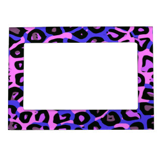 Hot Pink Blue Abstract Cheetah Magnetic Picture Frame