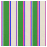 [ Thumbnail: Hot Pink, Blue, Beige, Green & Deep Pink Colored Fabric ]