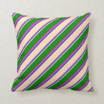 [ Thumbnail: Hot Pink, Blue, Beige, Green & Deep Pink Colored Throw Pillow ]
