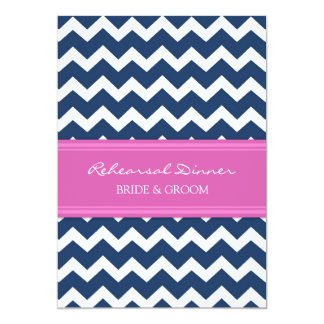 Hot Pink Blue Chevron Rehearsal Dinner Party 5x7 Paper Invitation Card