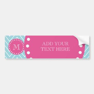 Hot Pink, Blue Chevron | Your Monogram Bumper Sticker