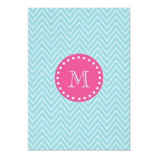 Hot Pink, Blue Chevron   Your Monogram Card
