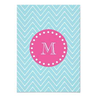 "Hot Pink, Blue Chevron | Your Monogram 4.5"" X 6.25"" Invitation Card"