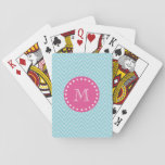 """Hot Pink, Blue Chevron   Your Monogram Playing Cards<br><div class=""""desc"""">Blue and white chevron pattern 2A with a preppy, hot pink, round label containing white dots in a circle shape and a white letter or initial you can customize to make your own monogrammed design. GraphicsByMimi&#169; A trendy pattern for her. Use the template field to add your monogram or select...</div>"""