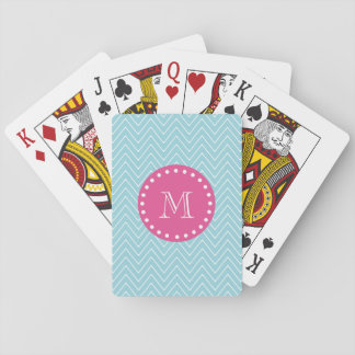 Hot Pink, Blue Chevron | Your Monogram Playing Cards