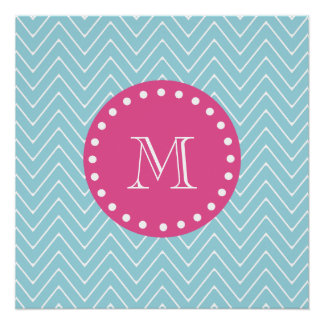 Hot Pink, Blue Chevron | Your Monogram Perfect Poster