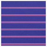 [ Thumbnail: Hot Pink & Blue Colored Lined Pattern Fabric ]