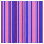 [ Thumbnail: Hot Pink & Blue Colored Lined/Striped Pattern Fabric ]