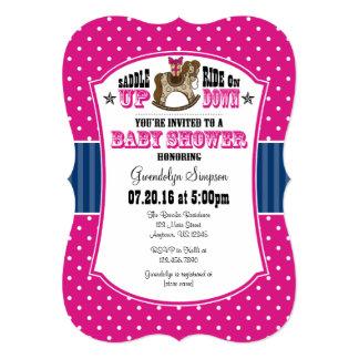 Hot Pink Blue Cowboy Baby Shower Invitation